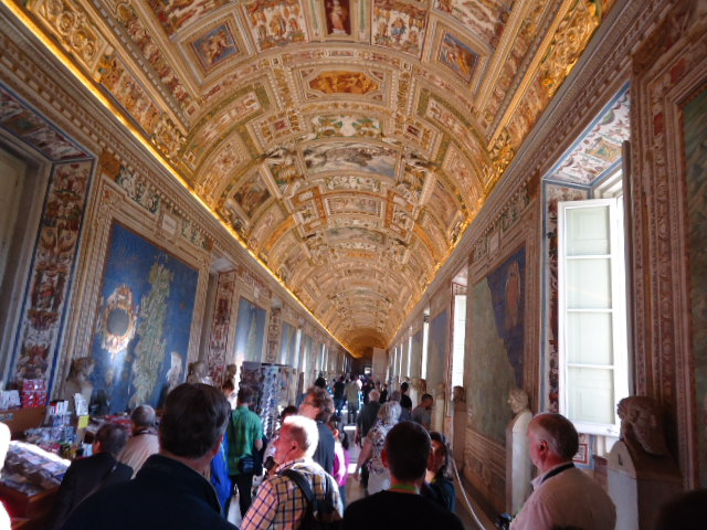 Gold lines ceilings of the Vatican