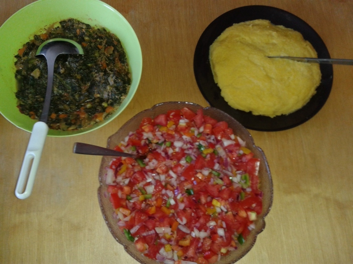 Yellow Ugali spinach and kachumbari