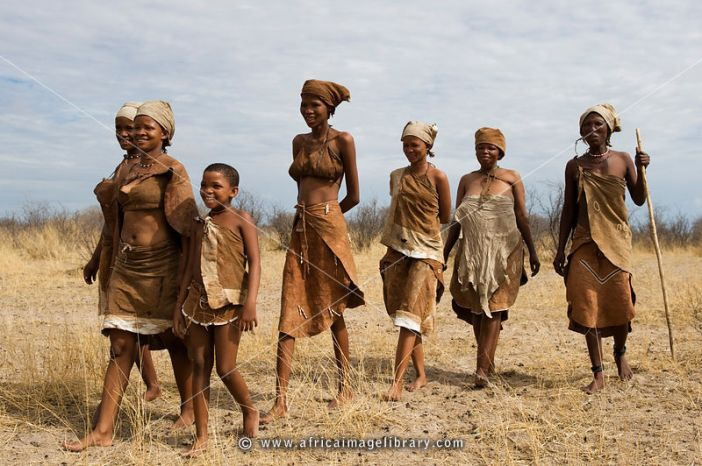 Naro bushman (San) women walking, Central Kalahari, Botswana
